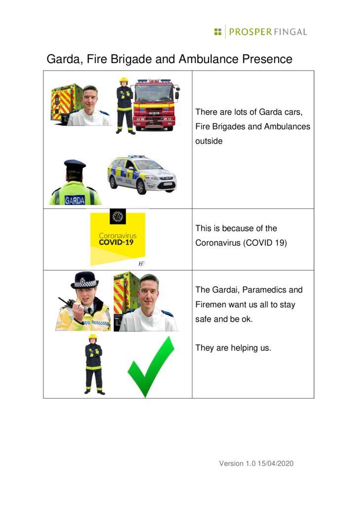 thumbnail of Coronavirus Garda Fire Brigade and Ambulance Presence Easy Read